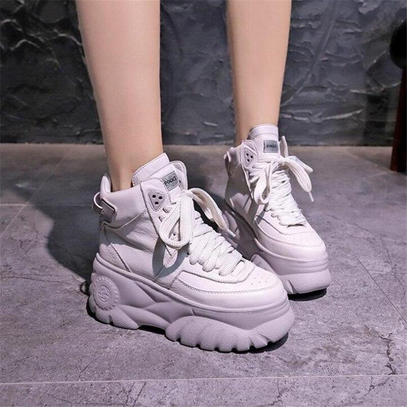 2019 nouveau Chunky chaussures à talons hauts baskets femmes printemps femme chaussures décontractées haut plate-forme baskets pour femmes 8 cm talon