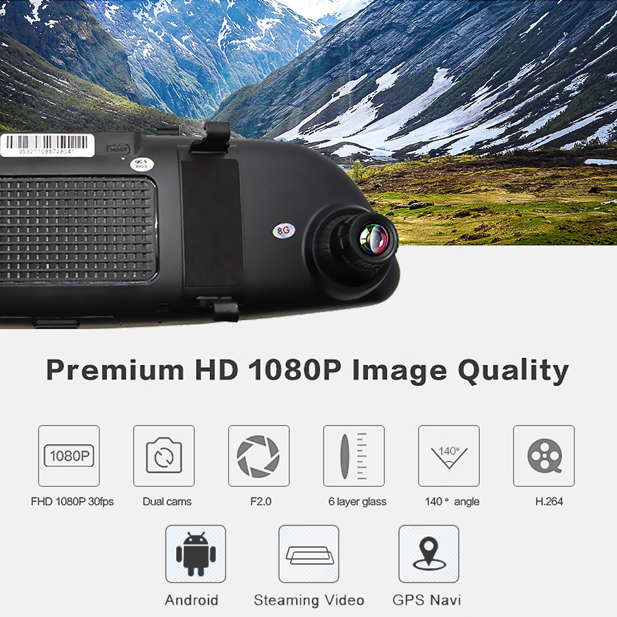 """Image 2 - Bluavido 7""""IPS 3G Android Car rearview mirror DVR GPS Navigation full hd 1080P video Camera recorder WiFi Bluetooth Car detector-in DVR/Dash Camera from Automobiles & Motorcycles"""
