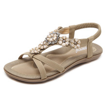 SIKETU New Women Summer Casual Bohemia Flat Sandals Shoes Woman Flower Sweet Beach Sandals Shoes Size 35-41 siketu women ethnic bohemia flat sandals shoes woman crystal flower flip flop beach sandals casual shoes size 35 42 blue beige