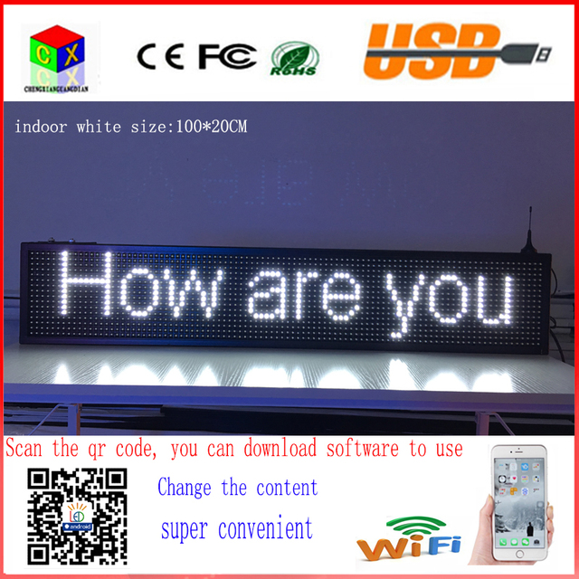 40X8 inch P10 indoor white LED sign wireless and usb programmable rolling information  1000x200MM led display screen