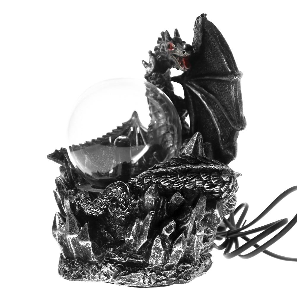 Medieval Dragon Electric Plasma Gazing Ball Resin Statue Dark Dragons Guardian Halloween Touch Responsive Gothic Orb Lighting