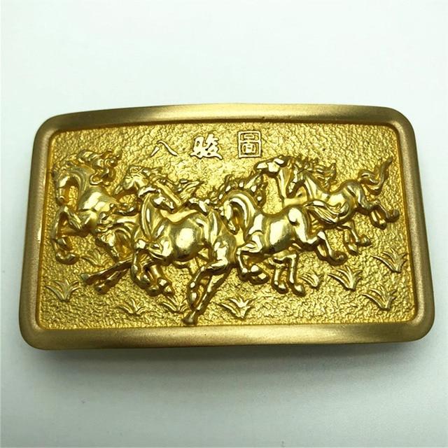 النحاس النقي خمر العتيقة حزام مشبك 8 الخيول قبعات رعاة البقر الغربية أزياء رجالي غرامة التبعي