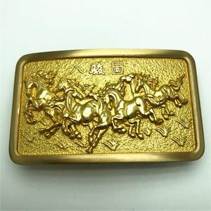 Image 1 - Pure Copper Vintage Antique Belt Buckle 8 Horses Western Cowboy Mens Fashion Fine Accessory