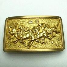 ทองแดงบริสุทธิ์ Vintage โบราณเข็มขัดหัวเข็มขัด 8 ม้า Western คาวบอย Mens แฟชั่นอุปกรณ์เสริม