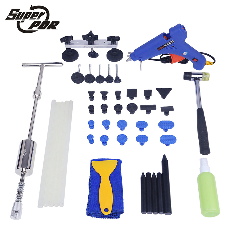 PDR car dent removal tool kit Paintless dent repair tools set dent lifter glue gun pulling bridge tap rubber hammer hand tools  pdr tool kit for pop a dent 57pcs car repair kit pdr tools pdr line board dent lifter set glue stricks pro pulling tabs kit