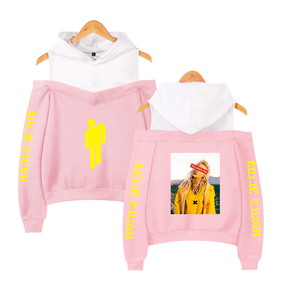 Billie Eilish Smock Off Shoulder Hoodies Women Fashion Kpop Hoodies Sweatshirt 2019 New Hot Sale Fans Streetwear Clothes