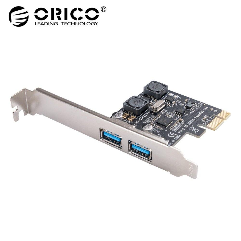 ORICO USB 3,0 PCI express 2,0 Tarjeta de expansión 2 puertos USB 3,0 PCI-e adaptador USB 3,0 5 Gbps velocidad para escritorio win10 8 7 PCI-E tarjeta