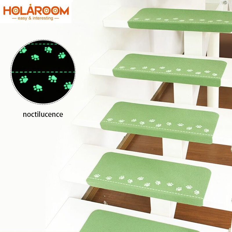 Luminous Staircase Pad Footprint Pattern Rugs Non-slip Stair Mat Self-Adhesive Floor Sticker Carpet for Entrance