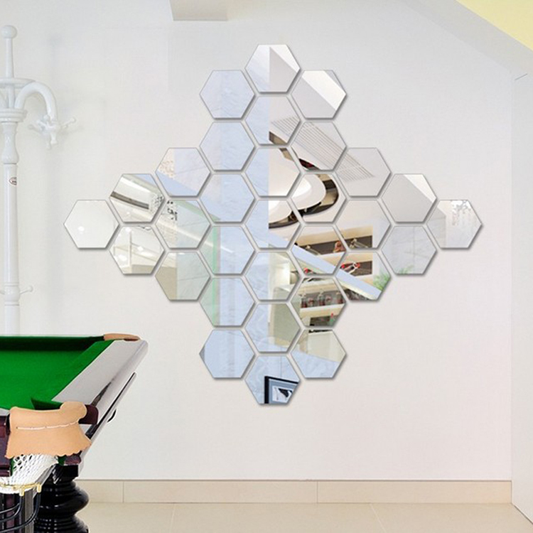 12 pcs puzzle honeycomb class acrylic mirror wall decal art stickers home decor in wall stickers for Lots specchio