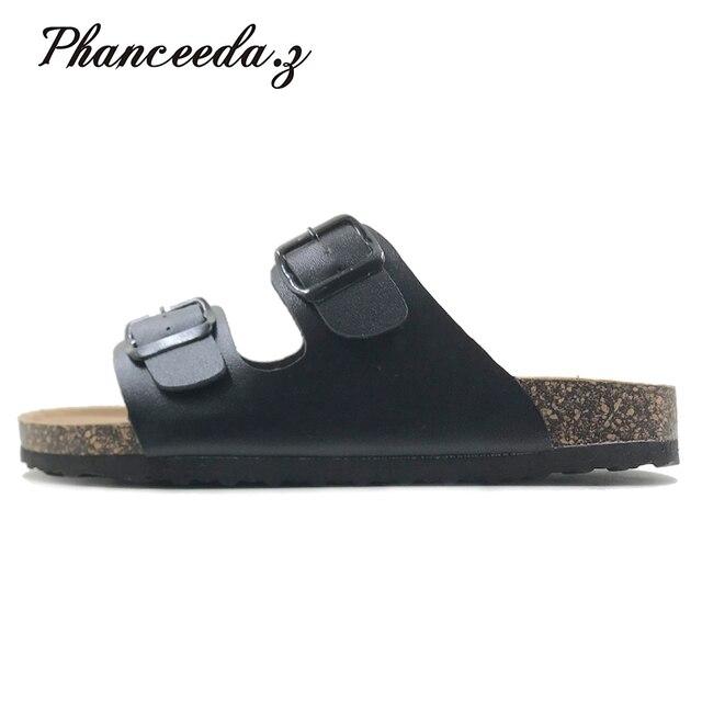 新 2019 夏のスタイルの靴女性サンダルコルクサンダルトップ品質バックルカジュアルスリッパフリップフロッププラスサイズ 6  11 無料 S