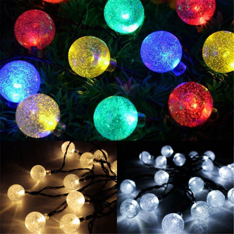 Solar Lamps 30LEDs Globe String Lights With 25 Clear Bulb UL Listed For  Indoor Outdoor Light