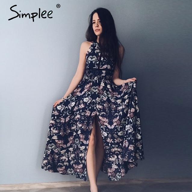 Simplee Halter floral print split summer dress Women Backless beach dresses sexylong dress Elegant maxi dress female vestidos