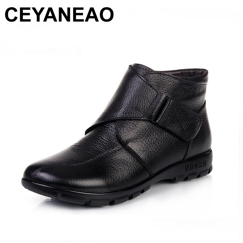 CEYANEAOWomen Winter Boots Fashion Genuine Leather Ankle Boots Women Round Toe Flat Shoes Soft-soled Woman Snow Boots Plus Size