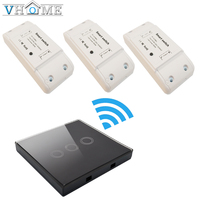Vhome Smart Home Wall Touch Panel Push 3 Button Remote Switch 85V 220V 5A Receiver 433MHZ