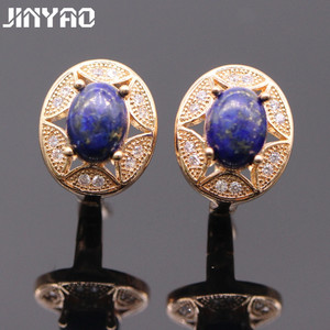 JINYAO Fashion Earrings 3colors Charm Gold Color Natural Lapis Lazuli &AAA Cubic Zirconia Earrings For Women