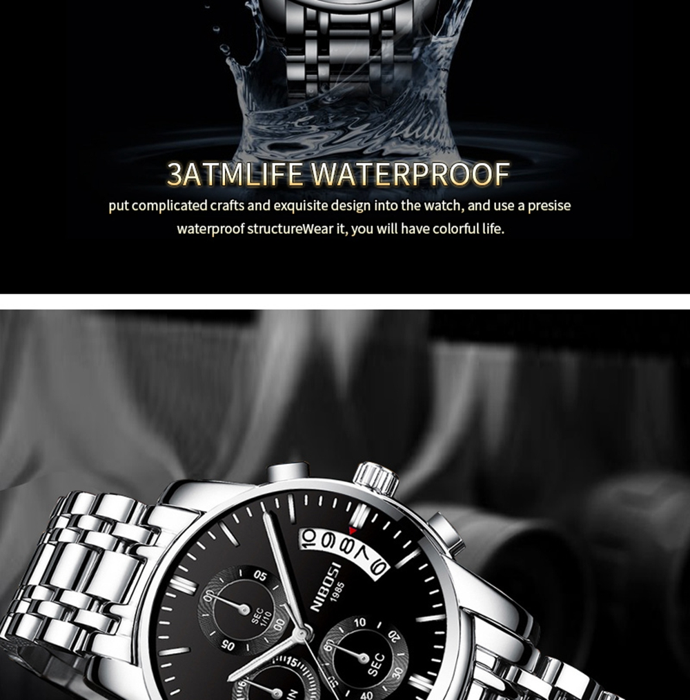 NIBOSI Mens Watches Top Brand Luxury Premium Luxury Fashion Luminous Waterproof Watch High-end Calfskin Pure Steel Strap Blue    (14)