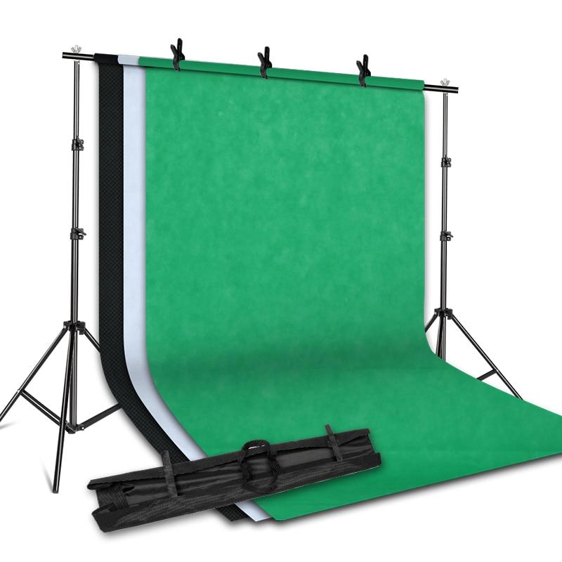 Système de Support de Support de fond 2 M X 2 M avec toile de fond de photographie en tissu non tissé 1.6 M X 3 M (blanc, noir, vert) pour Studio de Portrait