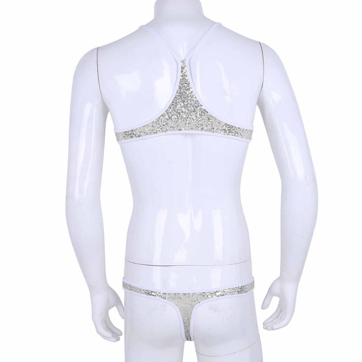 Erkek seksi iç çamaşırı seti Sissy mikro Mini Bikini mayo Sequins sutyen üst Tangas tanga iç çamaşırı eşcinsel Crossdressing kıyafeti
