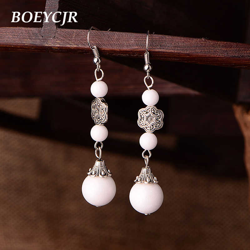 BOEYCJR Chinese Natural White Stone Earrings Vintage Ethnic Jewelry Beads Dangle Drop Hook Earrings For Women Christmas 2019