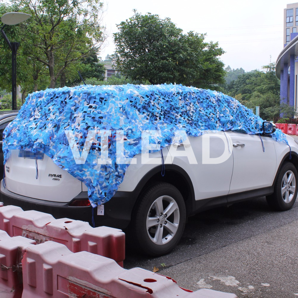 VILEAD 3M*10M Filet Camouflage Netting Blue Camo Netting For Sun Canopy Sunshade Party Decoration Sun Shading Tent Beach Tarp