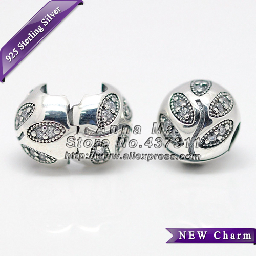S925 Sterling Silver Sparkling Leaves with Clear CZ Clip Charm Bead Fits European Style Jewelry Bracelets & Necklaces KT083-N