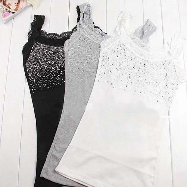 Women Rhinestone Sleeveless Lace Stunning Vest Tank Top T-shirt