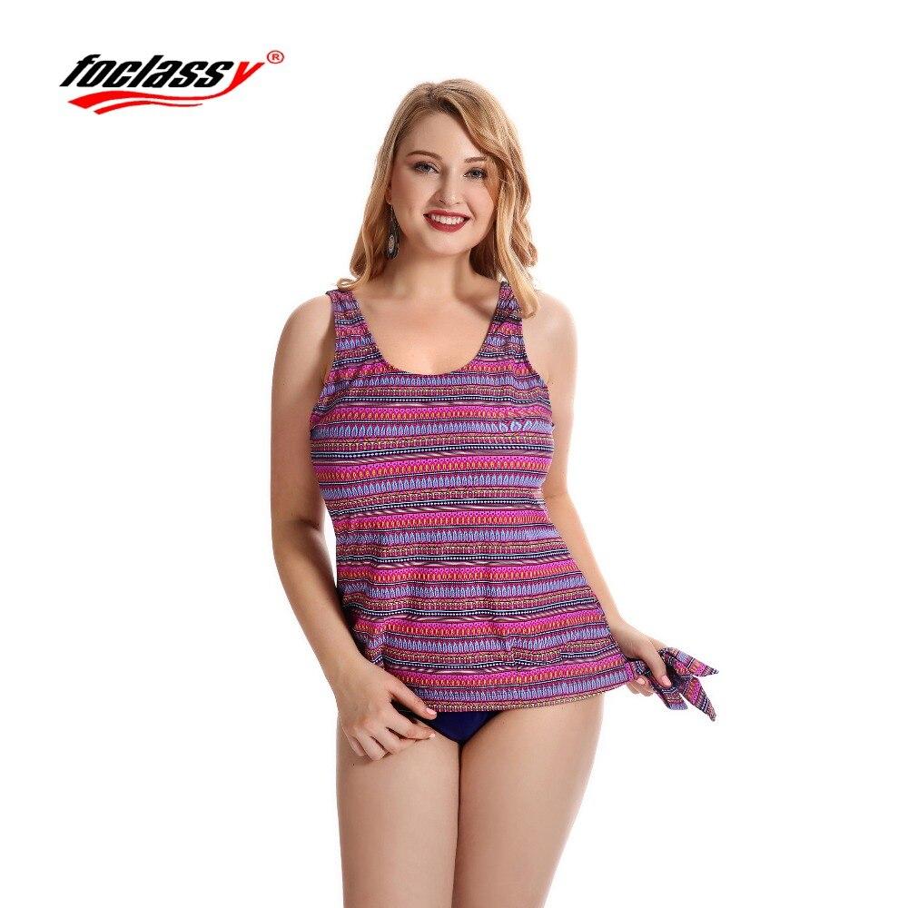 Foclassy Swimsuit Bikini 2017 Plus Size Swimwear Womens swimming suit Bandeau Bather Bathingsuit Beach Wear