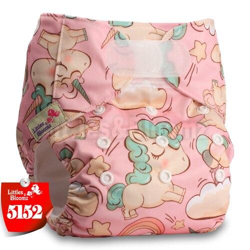 [Littles&Bloomz] Детские Моющиеся Многоразовые, настоящая стандартная ткань, застежка-липучка, карман для подгузников, пеленки, обертывание, подходит для рождения в горшке - Цвет: 5152