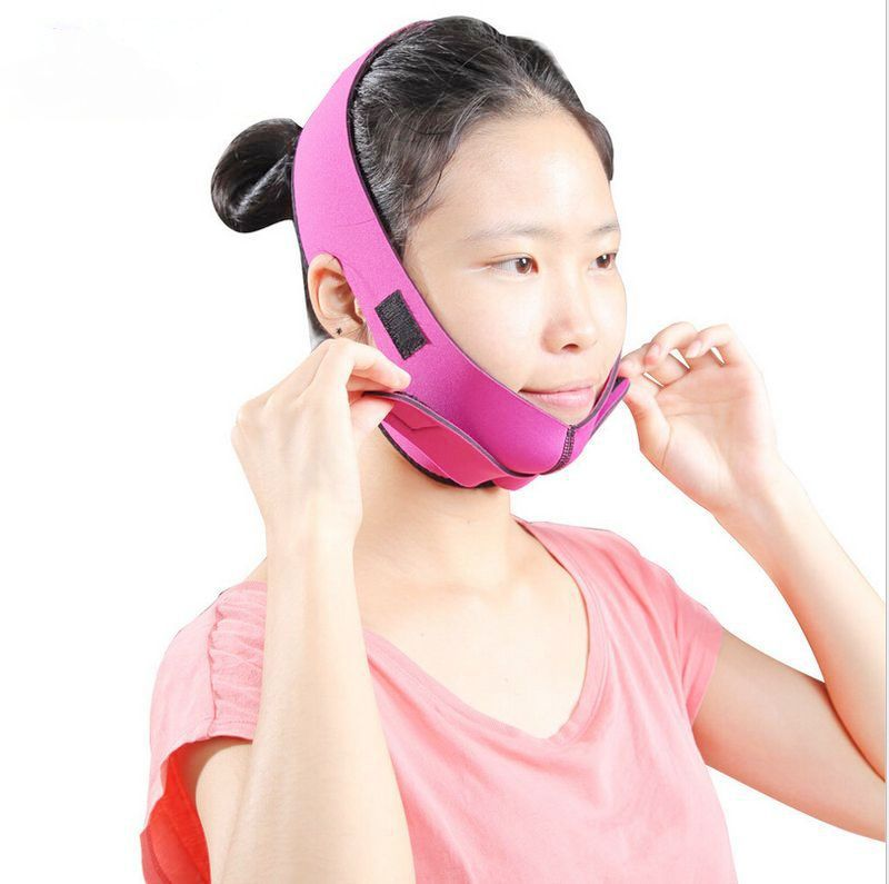 2017 New Massage Face Lift Slim Band Slimmer Neck Exerciser Chin Reduce Double Belt Mask Frontal Enhanced Health Care Slimming red color silicone face slim lift up belt facial slimming massage band mask personal beauty gift