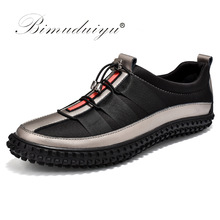 BIMUDUIYU Lyxvarumärke Hot Sales Casual Shoes For Men Höst Mode Light Pustable Male Shoes Män Läder Sneakers Flat Shoes