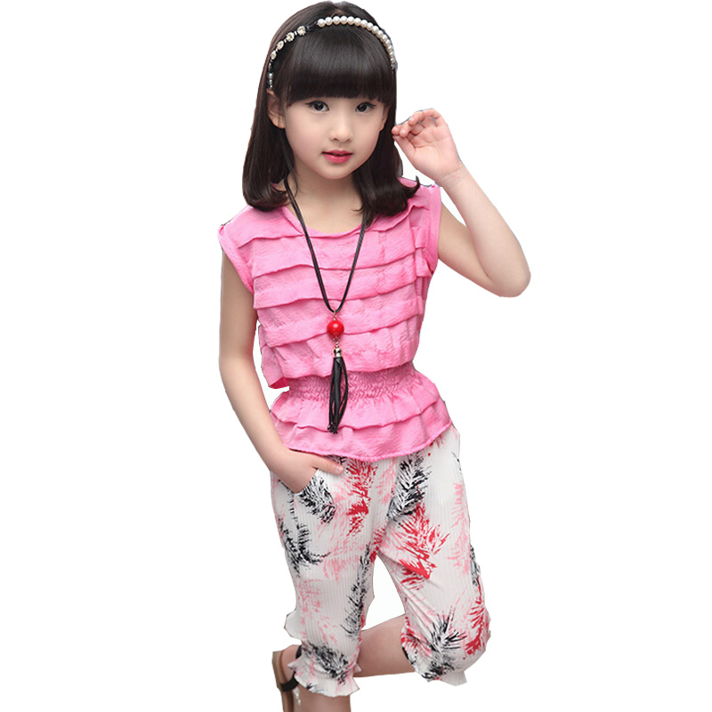 2016 summer new baby girls suit children folding  girls are sleeveless shirt + 7 minutes of pants kids leisure sets 4 -12 years baby products new popular in many countries mother and children are fond of it suit for 0 6 months better choice cradle