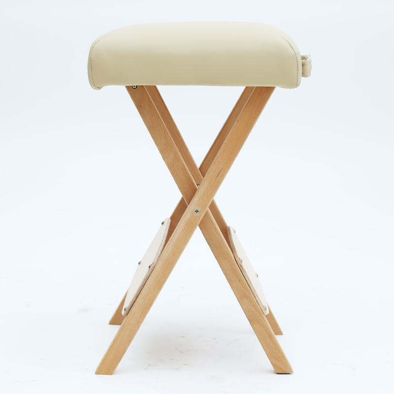 Solid Wood Beech Folding Stool Beauty Machinist Chair Massage Chair Portable Sponge Thickening Hair Barber Shop