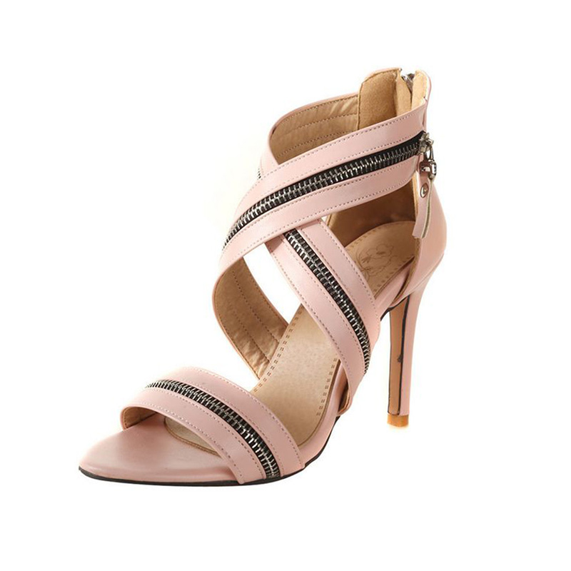 women shoes Women 39 s shoes European and American zipper decorative large size sandals for women in High Heels from Shoes