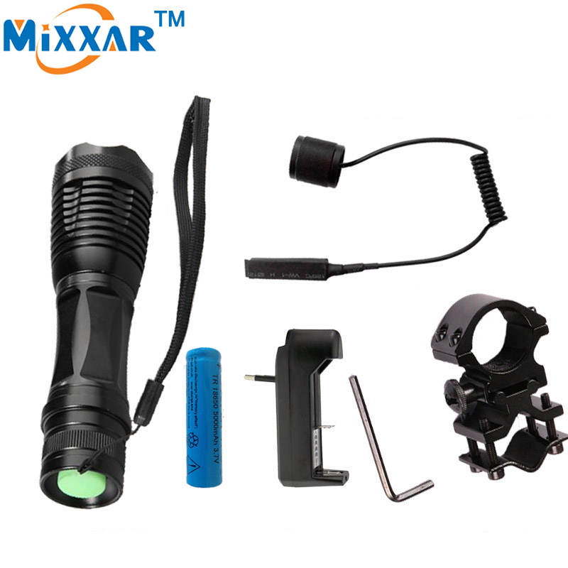 Ezk20 CREE XM-L T6 led tactical flashlight 9000Lm zoomable torch for Hunting+ 1*18650 battery + Remote Switch+Charger+Gun Mount rechargeable 2000lm tactical cree xm l t6 led flashlight 5 modes 2 18650 battery dc car charger power adapter