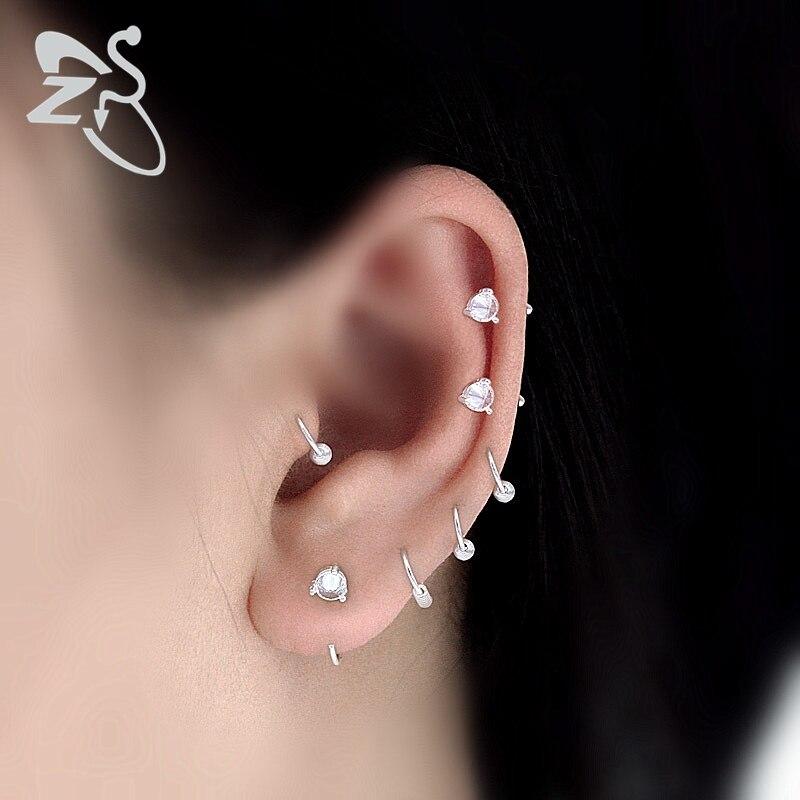 nouveau concept c3824 7d1eb € 2.0 20% de réduction|Cerceau de nez en argent anneaux zircon cubique  Septum anneau d'oreille lobe d'oreille anneau de lèvre en cristal Septum  Labret ...