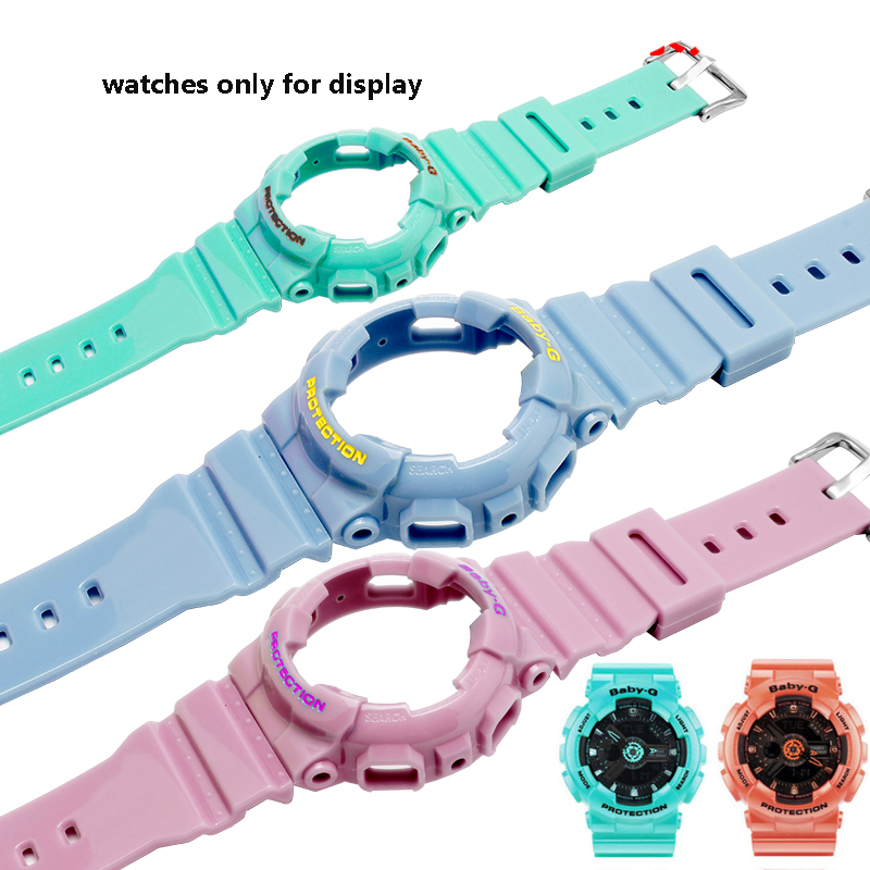 Replacement rubber strap fit CASIO BABY-G watch with BA-111 110112120 suit case silicone bracelet female wristband(China)