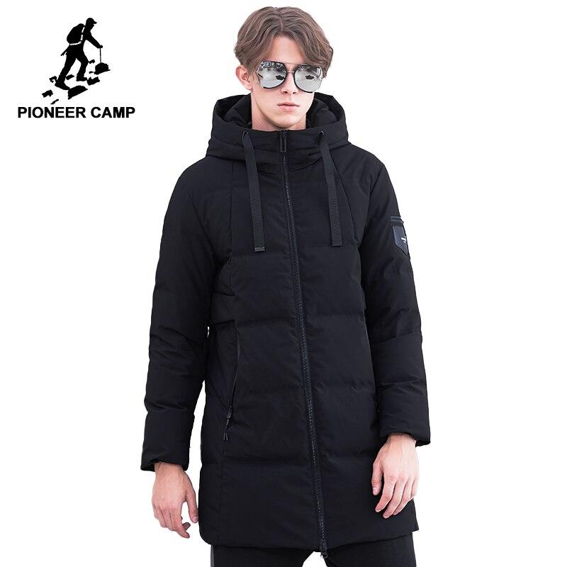 Pioneer Campo di spessore inverno giù uomini giacca marchio di abbigliamento lungo anatra caldo giù il cappotto maschile di alta qualità nero AYR801474