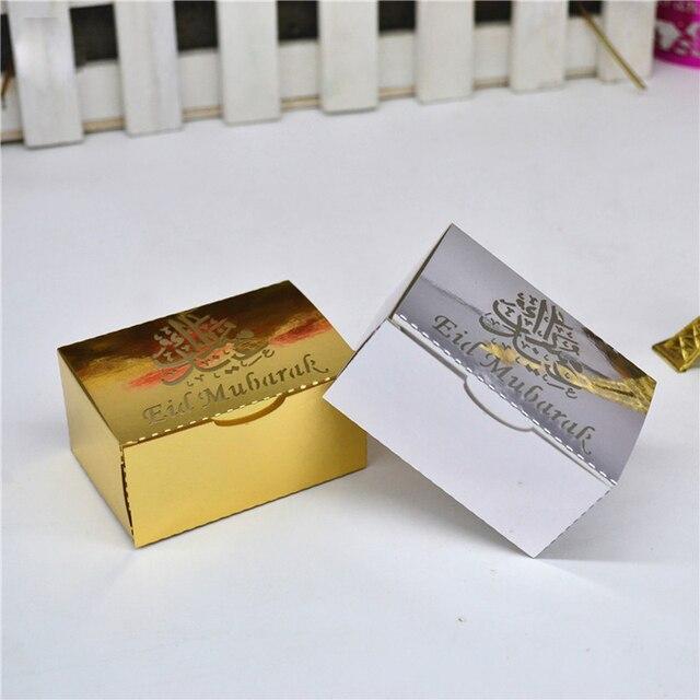HAOCHU 50 pz Eid Mubarak Contenitore di Caramella Oro Laser Cut Argento Ramadan Kareem Regalo Scatole Musulmano Festival Felice EID Partito forniture