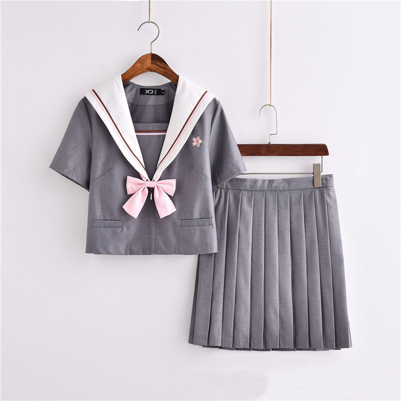 2018 New Arrival Japanese Jk Sets School Uniforms Summer Novelty Sailor Hell Girl Students Cosplay Girls Suit Uniform Bowknot