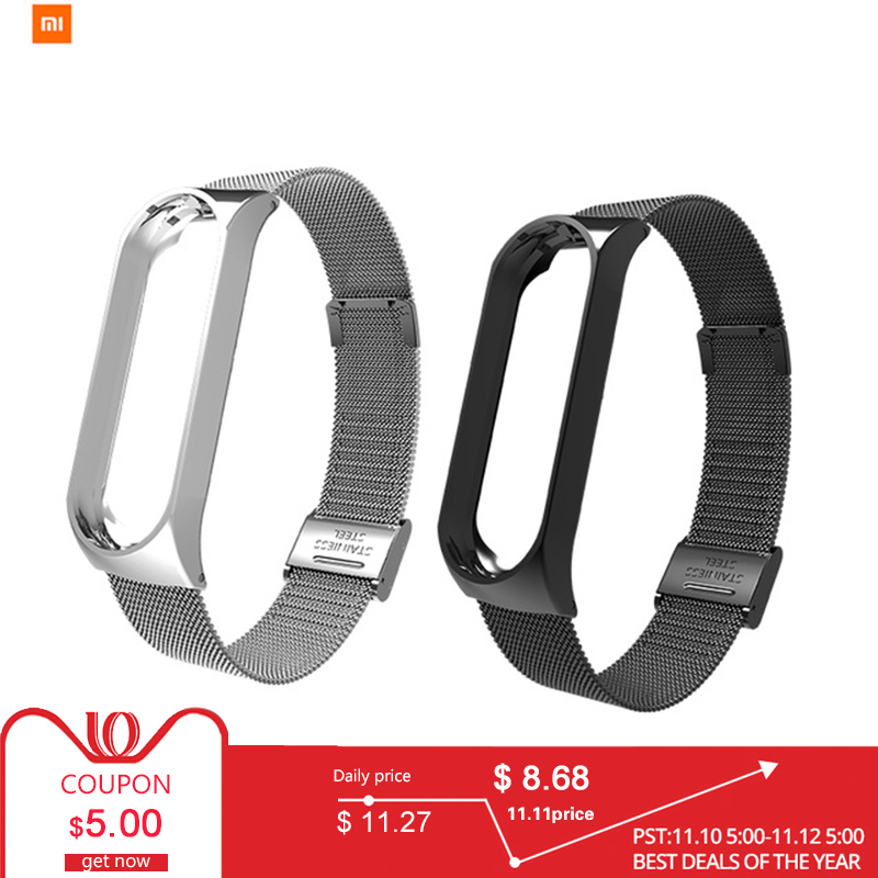 цена на In Stock New Xiaomi Band 3 Milano Buckle Strap Bracelet Sport Strap Watch For Xiaomi Mi Band 3 Accessories Strap Bracelet Band3