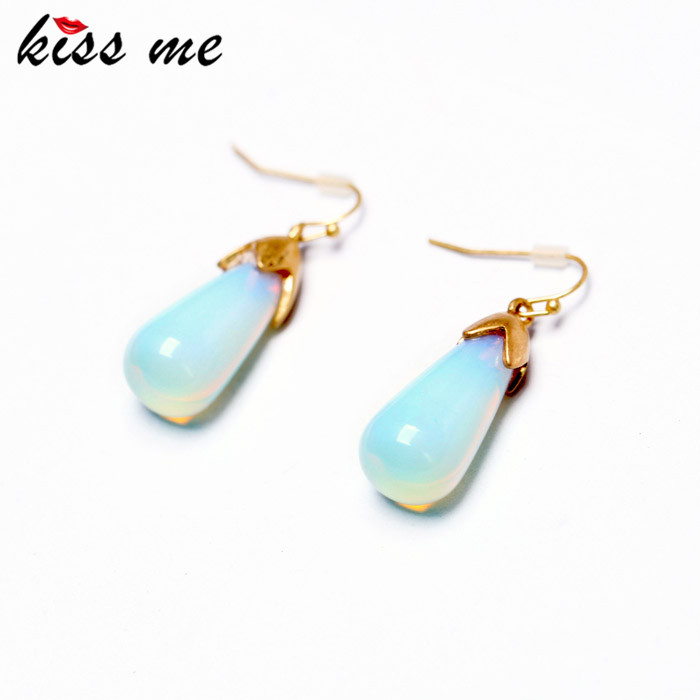 New Styles KISS ME Fashion Jewelry Elegant Blue Glass Stud Earrings