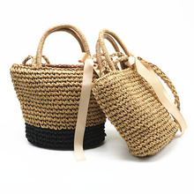 New Ladies Straw Bag Fashion Bow Shoulder Bags Bohemian Style Summer Vacation Beach Handbag Quality Craft Weaving