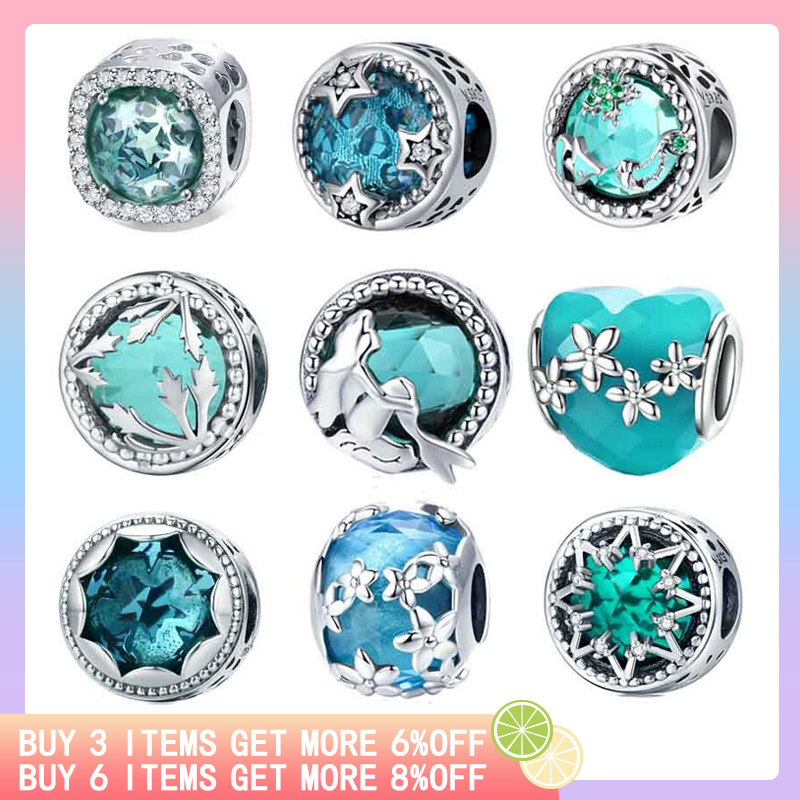 Jewelry & Accessories Responsible Inbeaut 925 Sterling Silver Ocean Blue Crystal Mermaid Charm Deep Sea Tree Heart Dasiy Star Glass Beads Fit Pandora Bracelet Preventing Hairs From Graying And Helpful To Retain Complexion