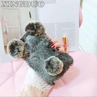 XINGDUO For Iphone 7 Case Super Cute PANDA Real Rex Rabbit Fur Phone Case For Iphone