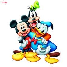 Mickey Minnie Donald Duck Painting Diy 5D Diamond Painting Cartoon Full Resin Square Diamond Embroidery Painting Decoration