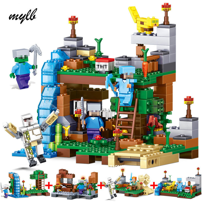 mylb Toy 4 in 1 MY WORLD Action Figures Building Blocks Compatible Minecraft City Educational Enlighten Bricks For Kids 4pc set ninjagoes dragon knight building blocks kids hot toys ninja bricks mini action figures enlighten toy for children friend