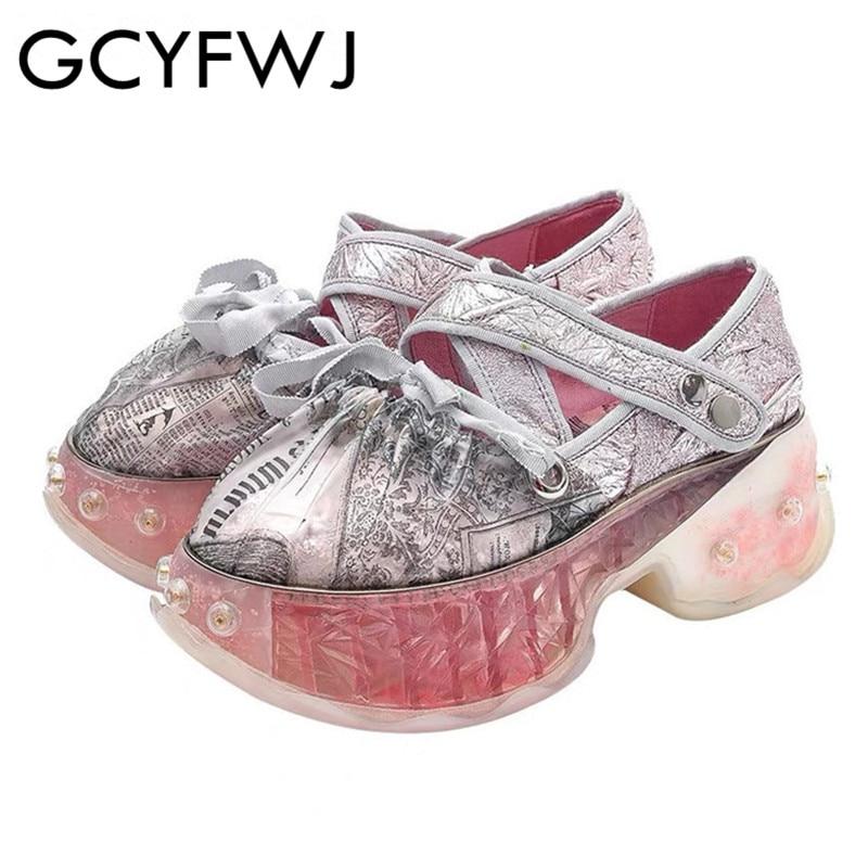 GCYFWJ 2019 新しい靴女性春のファッションレースアップちょう結びフラットシューズ女性の靴ピンクゼリー厚いリベットレディースシングル XF015  グループ上の 靴 からの レディースヴァルカナイズシューズ の中 1