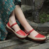 Оригинальный ретро ручной работы из кожи Мэри Джейн Для женщин Туфли лодочки элегантная Muffin толстая подошва женская обувь с круглым носком