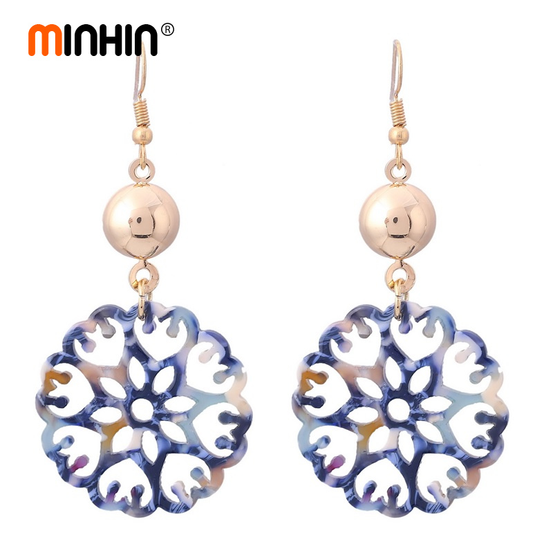 MINHIN Retro Women Earrings Hollow Carved Pendant Earrings African Wedding Jewelry Ladies Statement Dangle Earring Рыбная ловля