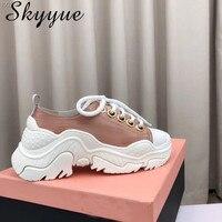 SKYYUE/Новинка 2018 года, женские повседневные туфли гладиаторы из натуральной кожи на шнуровке, удобная женская обувь с круглым носком